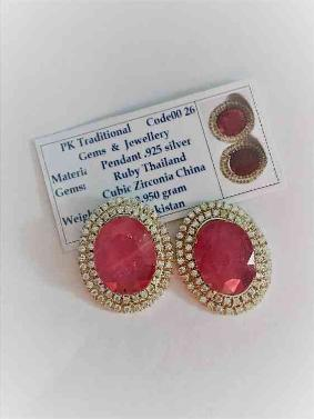 Ruby and Zircon Earrings/Birthday gift for her
