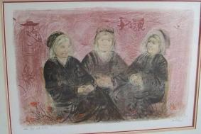 Edna Hibel Pencil Signed And Numbered Lithograph Old Friends