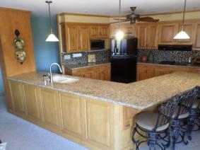 birch Kitchen Cabinets And Venetian Gold Granite Countertop