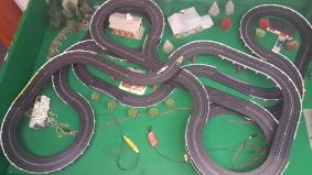 Vintage Ho Slot Racing Car Track Layout With 2 Cars