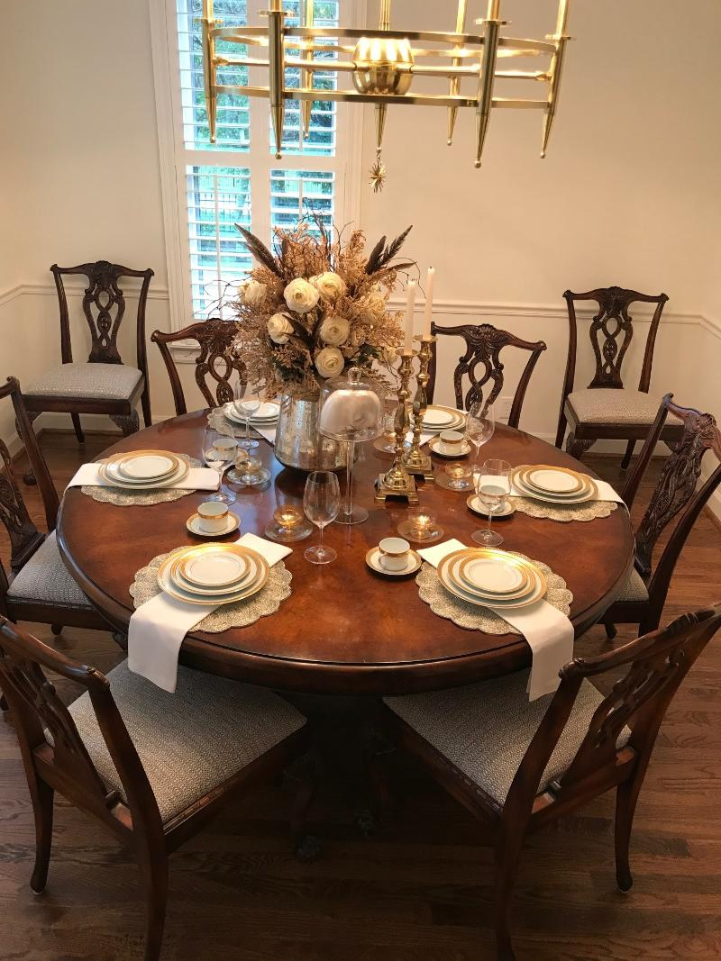 nashville  dining room table round 8 chairs seats up to